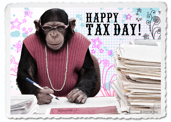 taxday, postcard, bluemountain, monkey