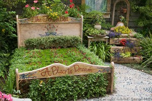 """Garden """"bed"""" whimsy at Cambria Pines Lodge"""