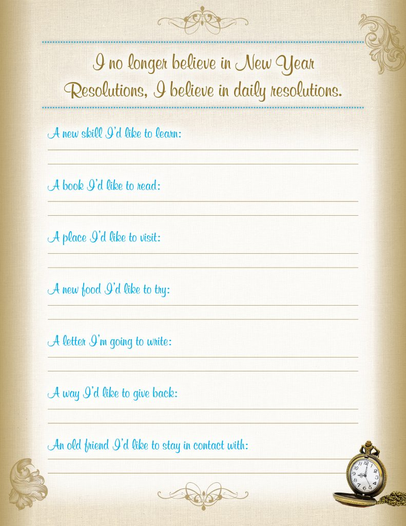 Blue Mountain Printable 2015 Goal Sheet